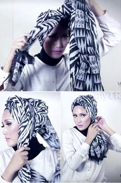 Tutorial Hijab Pasmina Motif Menjadi Turban yang Cantik