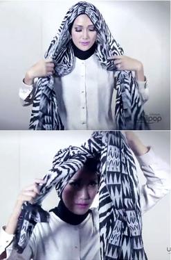 Tutorial Hijab Pasmina Motif Menjadi Turban yang Cantik 2