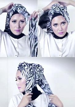 Tutorial Hijab Pasmina Menjadi Turban yang Cantik 3
