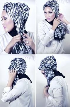 Tutorial Hijab Pasmina Menjadi Turban yang Cantik 4