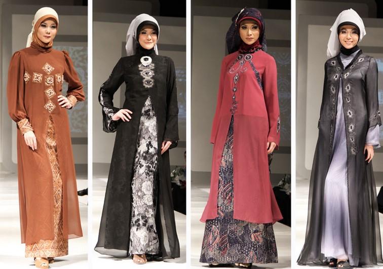 Baju dan Busana Muslim Modern Terbaru 4 - Gamis Pesta Warna Coklat, Hitam Putih, Merah, dan Abu-abu