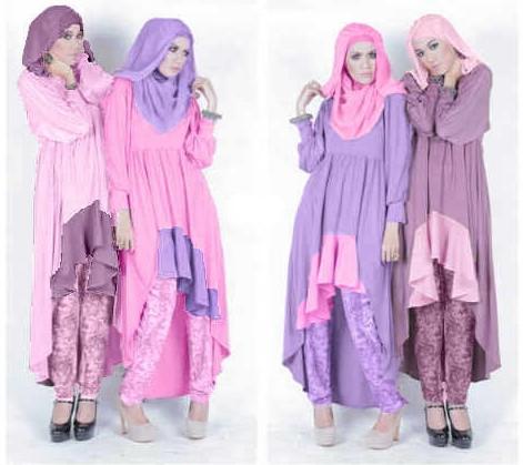 Baju dan Busana Muslim Modern Terbaru 5 - Warna Pink Muda dan Ungu Muda dengan celana Batik