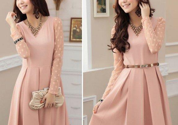 Dress Pink Cantik Mini dan Maxi untuk yang Berhijab 1 - Polkadot selutut lengan panjang