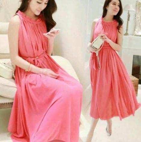 Dress Pink Cantik Mini dan Maxi untuk yang Berhijab 2 - Dress Panjang Pink tanpa Lengan Elegan