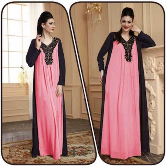 Dress Pink Cantik Mini dan Maxi untuk yang Berhijab 3 - Pink Panjang Kombinasi Hitam dan Ada hiasannya