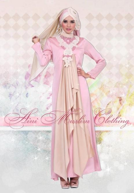 Dress Pink Cantik Mini dan Maxi untuk yang Berhijab 4 - Dress Pink Panjang Anggun untuk Wanita Muslimah