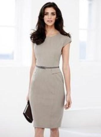 Model Baju Kantor 5 - Dress Kantor Formal Simpel Feminin Abu-abu terang