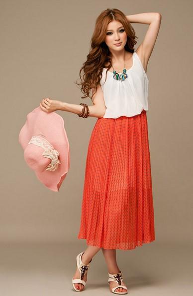 Model Dress Korea Panjang 1 - Merah Putih polkadot