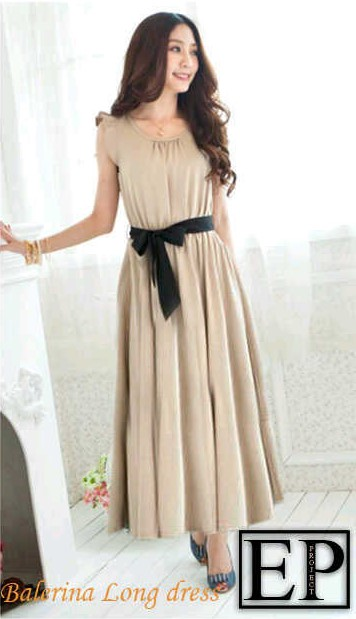 Model Dress Korea Panjang 3 - Warna kalem simpel