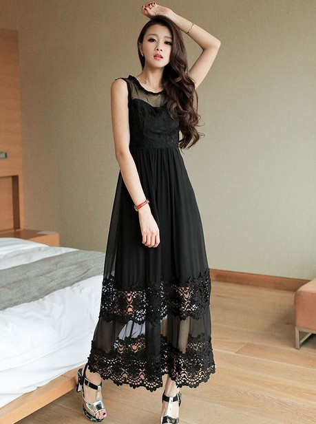 Model Dress Korea Panjang 4 - Dress Panjang Hitam berenda seksi