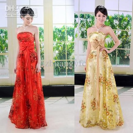 Model Dress Korea Panjang 5 - Model Kemben panjang bunga-bunga kuning dan emas