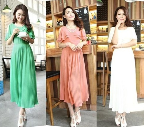 Model Dress Korea Panjang 6 - Warna peach hijau dan putih santai dan ke pesta