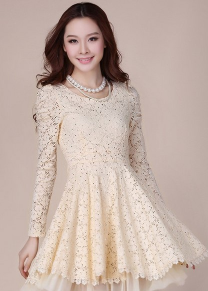 Model Dress Korea Panjang 8 - warna putih lengan panjang