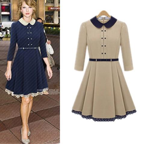 Model Dress Korea Terbaru Cantik 1 - Warna kalem berenda