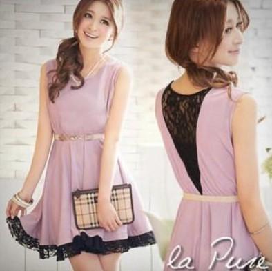 Model Dress Korea Terbaru Cantik 5 - Dress Warna Ungu Tanpa Lengan Cantik