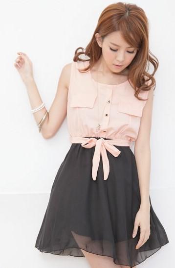 Model Dress Korea Terbaru Cantik 7 - Paduan Rok Hitam dan Warna Peach cantik