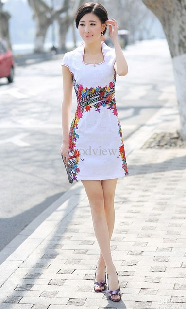 Cheongsam Dress 1 - WArna Putih Pendek