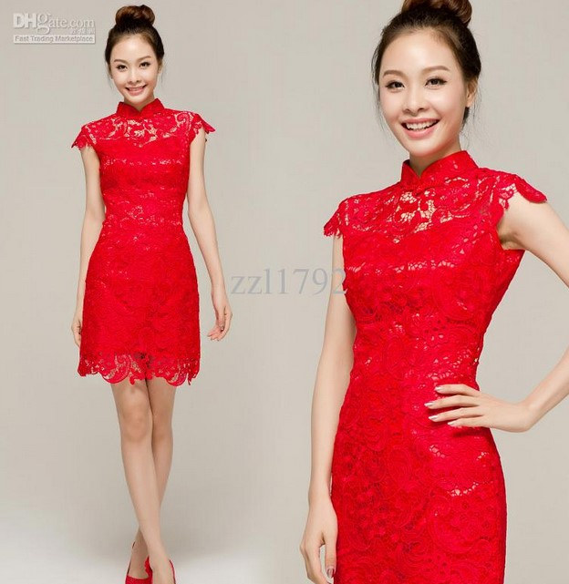 Cheongsam Dress 2 - Warna Merah Pendek
