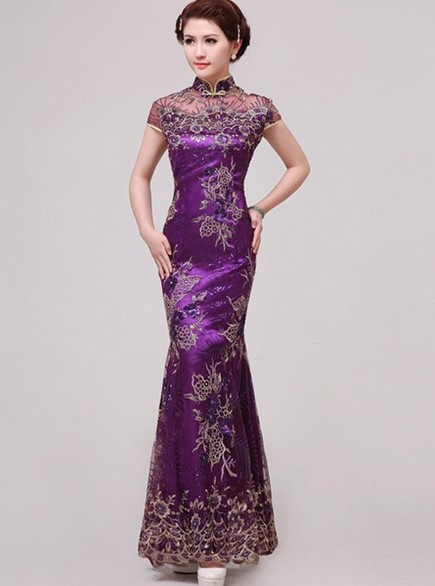 Cheongsam Dress 3 - Warna Ungu Panjang