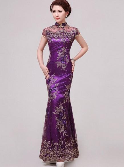 Cheongsam Dress 3 - Warna Ungu Panjang