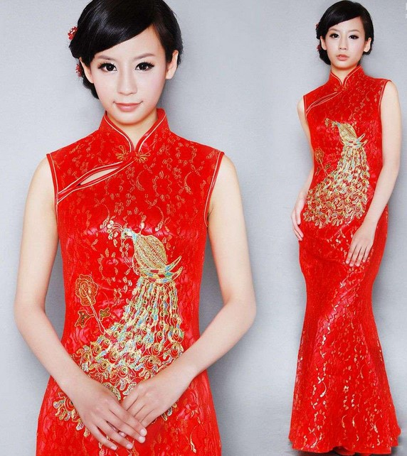 Cheongsam Dress 4 - Warna Merah Gold Panjang