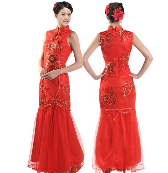 Cheongsam Dress 6 - Warna Merah Cantik panjang