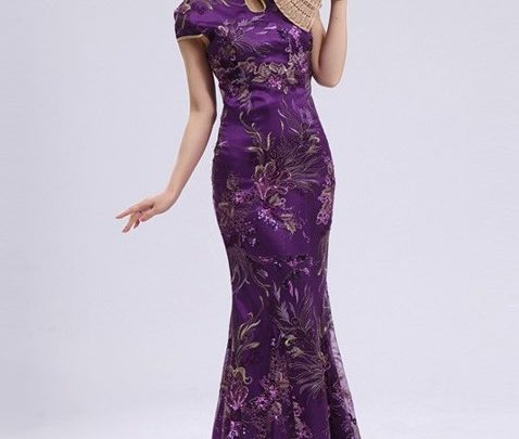 Cheongsam Dress 7 - Warna Ungu Tertutup