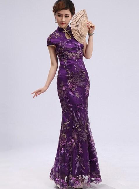 Cheongsam Dress 7 - Warna Ungu Tertutup