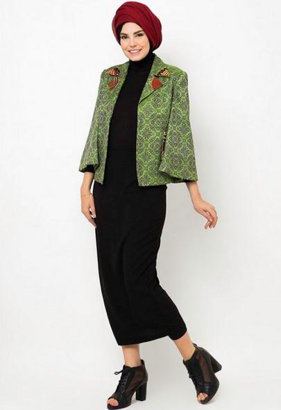 Kumpulan Long Dress Dian Pelangi Terbaru Cantik 1 - Dress Hitam Kombinasi Hijau Batik