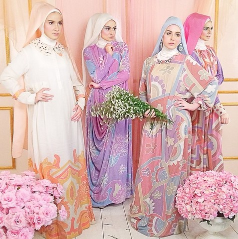Kumpulan Long Dress Dian Pelangi Terbaru Cantik 2 - Dress motif warna cantik