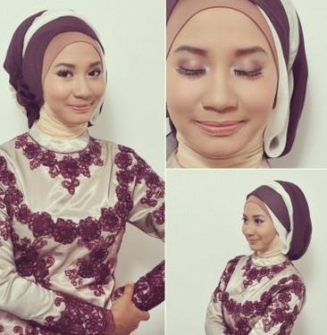 Kumpulan Model Hijab untuk Kebaya yang Cantik 6 - HIjab Kantong Dua Warna