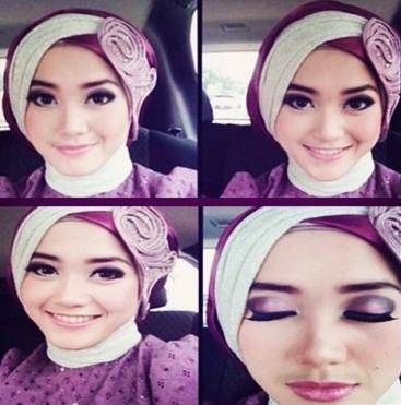 Kumpulan Model Hijab untuk Kebaya yang Cantik 7 - HIjab Model Miring 2 Warna