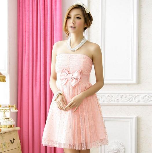 Kumpulan Short Dress Pink untuk ke Pesta 4 - Dress Pink Lembut Polkadot