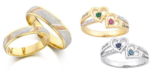 gambar foto model cincin tunangan 2 - emas kuning dan Putih kombinasi