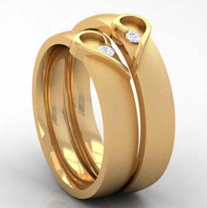 gambar foto model cincin tunangan 4 - Emas Kuning Bentuk Love dengan 1 diamond