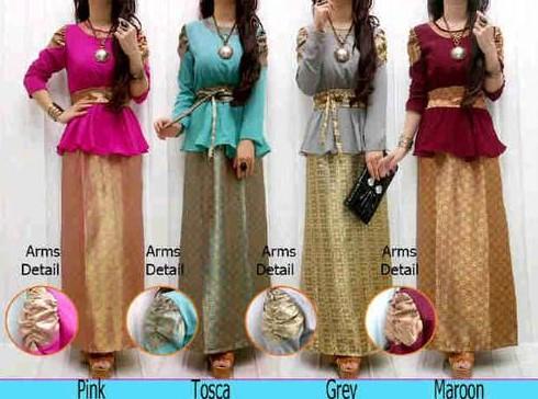 Baju dress Songket 1 - Model baru Warna Warni