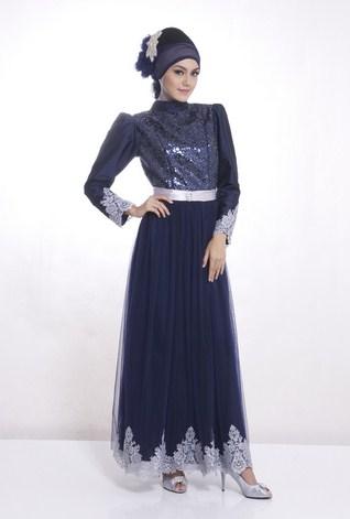 Foto Gaun Kebaya Muslimah Cantik 5 - Warna Biru Donker Silver Dress Pesta