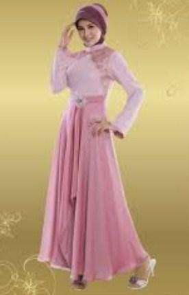 Foto Gaun Kebaya Muslimah Cantik 6 - warna pink dress A line