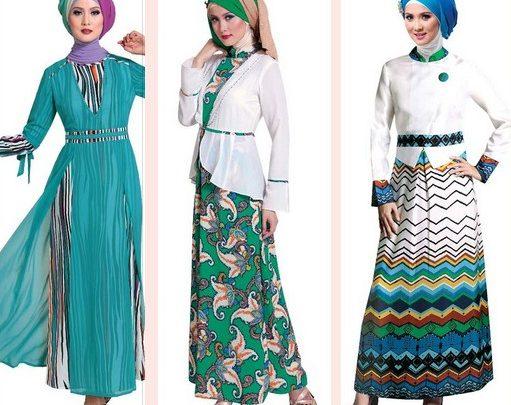 Contoh Model baju Muslim Modern 2015 - 1 Motif versus Polos