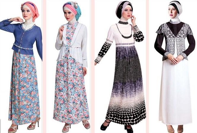 Contoh Model baju Muslim Modern 2018 - 2 Monokrom hitam dan putih