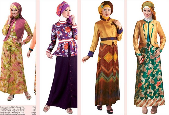 Contoh Model baju Muslim Modern 2020 - 3 Colorful Makin cantik