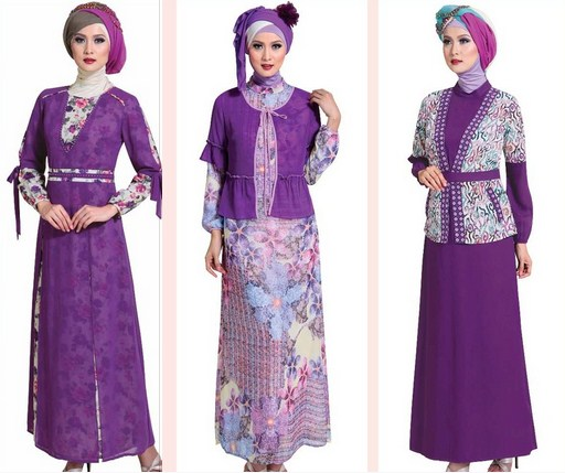 Contoh Model baju Muslim Modern 2018 - 4 Tema Ungu Motif Polos