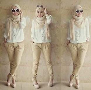 Baju Muslim Trendy untuk Anak Muda Terkini 1 - Warna Putih Krem