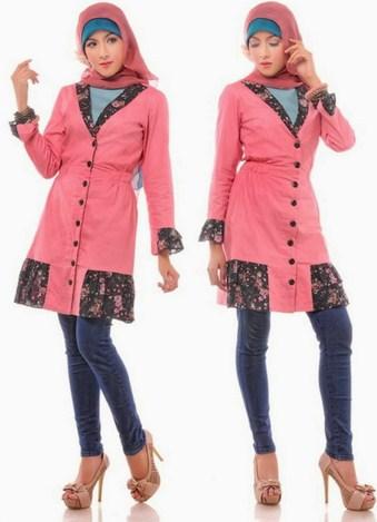 Baju Muslim Trendy untuk Anak Muda Terkini 3 - Warna Pink Jins