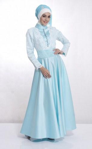 Baju Muslim Trendy untuk Anak Muda Terkini 7 - Biru Muda Brokat Simpel