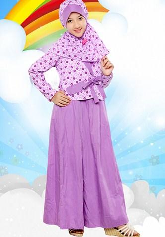 Contoh Baju Muslim Anak Keren Model Terbaru 2015 1 - Busana Muslimah Anak Ungu