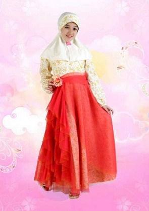 Contoh Baju Muslim Anak Keren Model Terbaru 2015 2 - Warna Kuning Kombinasi Ungu Rok Lebar