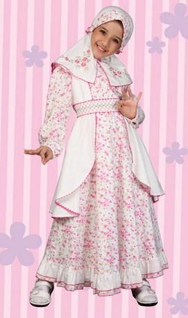 Contoh Baju Muslim Anak Keren Model Terbaru 2020 3 - Baju Muslim Anak Perempuan Putih Kombinasi Merah Muda
