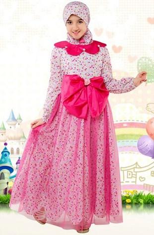 Contoh Baju Muslim Anak Keren Model Terbaru 2021 5 - Gamis Anak Perempuan Merah Muda