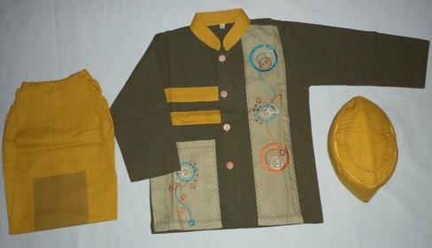 Contoh Baju Muslim Anak Keren Model Terbaru 2020 9 - Warna Kuning Kombinasi untuk Putra